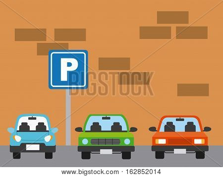 sign of parking zone and parked cars icon over white background. colorful design. vector illustration