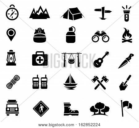 Vector Illustration of Camping and Recreation Icons. Best for Travel, Adventure, Leisure, Icon Set, Signs and Symbols, Design Element concept.