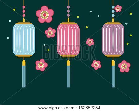 pink flowers and chinese lanterns decorations hanging. colorful design. vector illustration
