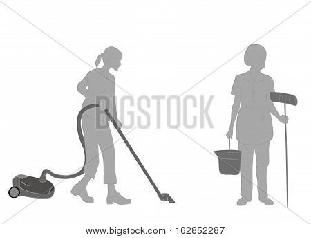 Housewife cleaner vacuum cleaner or mop silhouette on a white background. vector illustration
