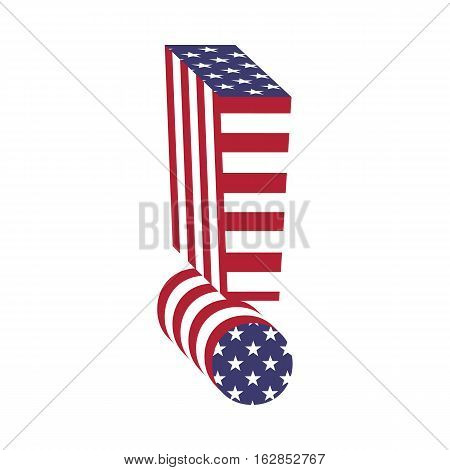 Letter exclamation point from 3d with American flag texture wrapped. Volume USA vector font