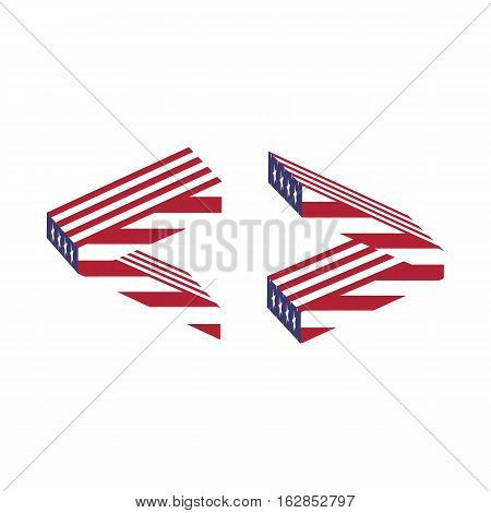 Letter greater less than from 3d with American flag texture wrapped. Volume USA vector font
