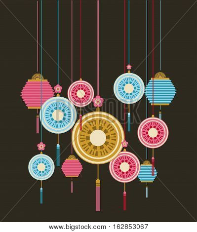 chinese lanterns and decorations hanging over black background. colorful design. vector illustration