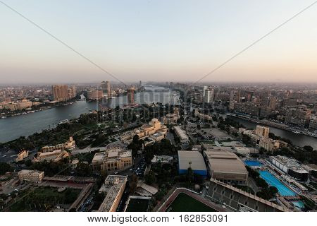Cairo view from the tower with Nile and skyscrapers
