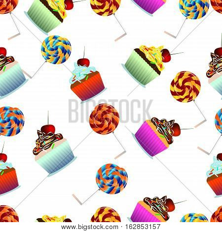 Vector seamless pattern. Pastry cute cupcakes lollipops. White background. Can use them for your design in prints card making blogs website  or even for printing on fabrics.