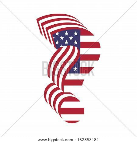 Letter question mark from 3d with American flag texture wrapped. Volume USA vector font