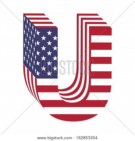 Letter U from 3d with American flag texture wrapped. Volume USA vector font