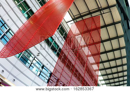 LONDON UK 18 october 2016: Design of the hall in the terminal at Heathrow Airport - virgin atlantic airline