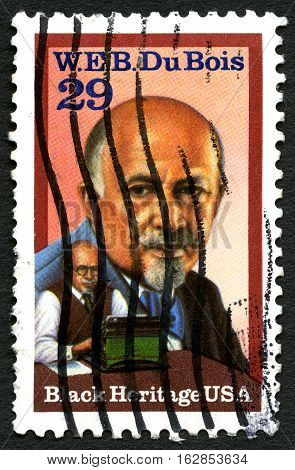 UNITED STATES OF AMERICA - CIRCA 1992: A used postage stamp from the USA celebrating social activist W. E. B. Du Bois circa 1992.