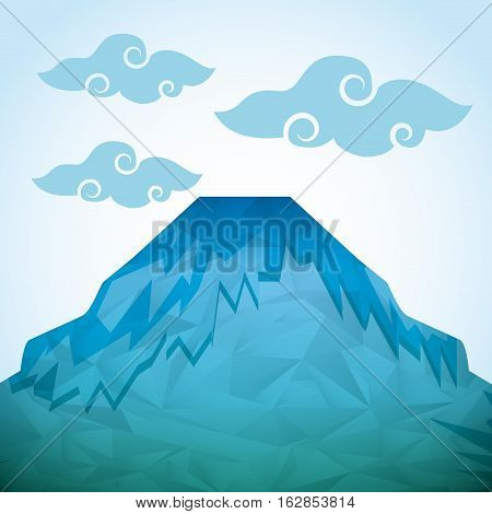 mountain icon. colorful and abstract design. vector illustration