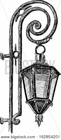 Vector drawing of a vintage street lamp.