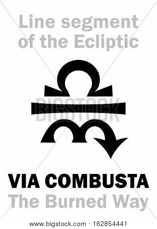 Astrology Alphabet: VIA COMBUSTA (The Burned Way), Line segment on the Ecliptic (between Libra and Scorpio). Hieroglyphics character sign (single symbol).