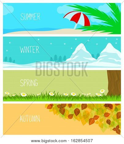Vector Illustration of Seasons. Best for Banners, Backgrounds, Design Element concept.