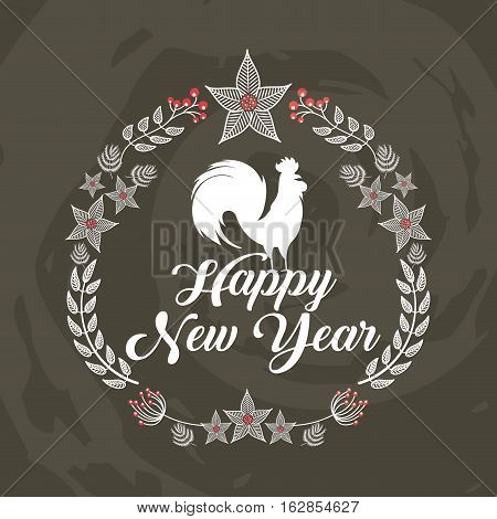 happy new year card with decorative wreath of leaves with rooster icon. colorful design. vector illustration