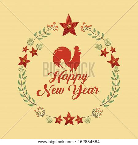 happy new year card with decorative wreath of leaves with rooster icon over yellow background. colorful design. vector illustration