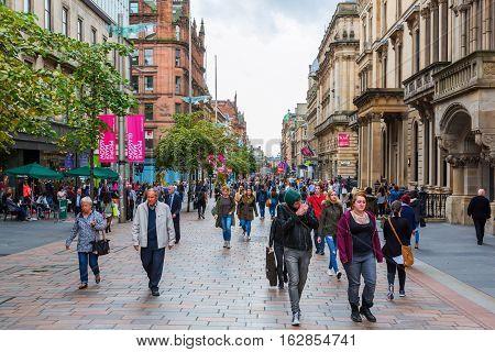 Buchanan Street In Glasgow, Scotland, Uk