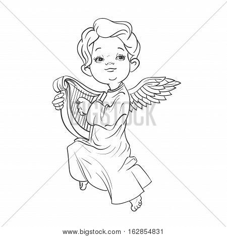 Cute smiling toddler angel making music playing harp. Vector illustration. Good for seasonal greeting, redwork, coloring page. Ink line work, contour