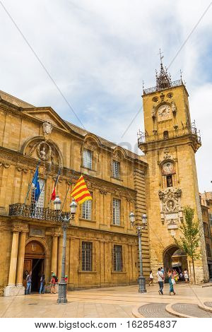 Historic City Hall And Clock Tower In Aix-en-provence, France
