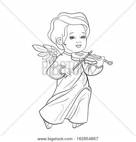 Cute smiling toddler angel making music playing violine. Vector illustration. Good for seasonal greeting, redwork, coloring page. Ink line work, contour