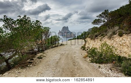 Track to picturesque and mysterious island of Es Vedra. Ibiza, Balearic Islands. Spain