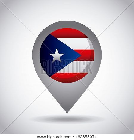 puerto rico country flag pin icon over white background. colorful design. vector illustration