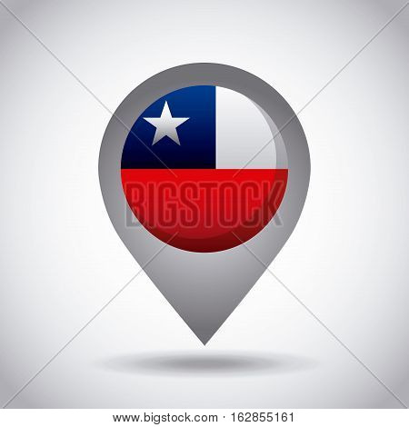 chile country flag pin icon over white background. colorful design. vector illustration