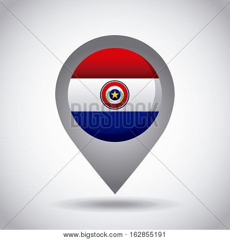 paraguay country flag pin icon over white background. colorful design. vector illustration
