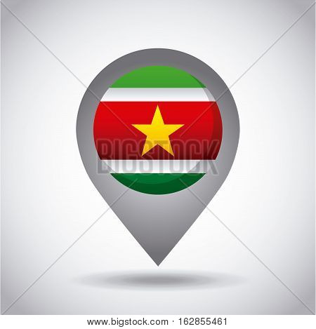 surinam country flag pin icon over white background. colorful design. vector illustration