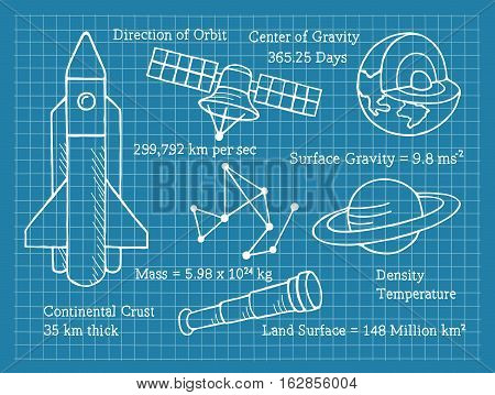 Vector Illustration of Astronomy on Blueprint. Best for Astronomy, Science, Education, Research, Technology, Concept.