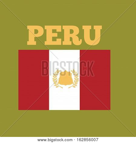peru country flag icon over green  background. colorful design. vector illustration