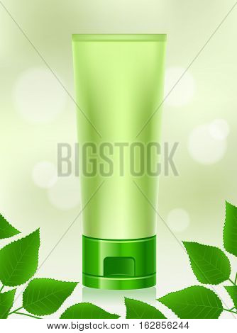 Vector Illustration of Natural Cosmetic Product on Bokeh Background. Best for Beauty and Health, Cosmetics, Merchandise, Natural Products, Body Care, Healthy Lifestyle, Packaging, Design Elements Concept.