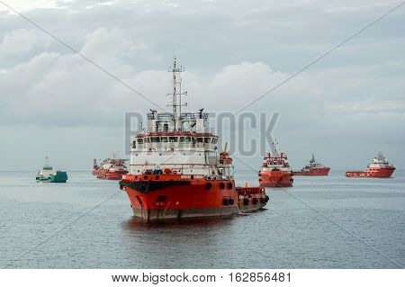 Labuan,Malaysia-Jan 22,2016:Offshore oil & gas sea construction & support vessel at port of Labuan,Malaysia.All the vessels port in Labuan island,most related to the offshore Oil &Gas industry.