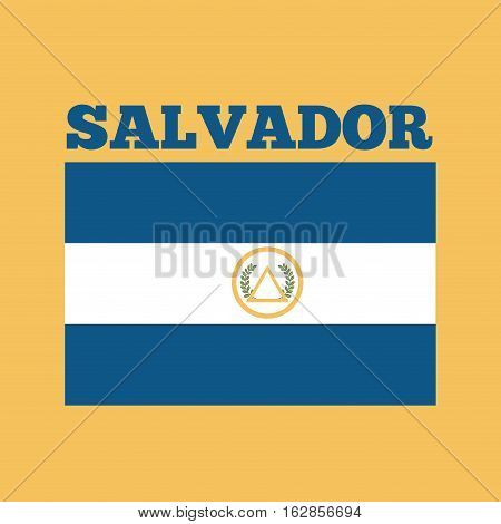 el salvador country flag icon over yellow background. colorful design. vector illustration