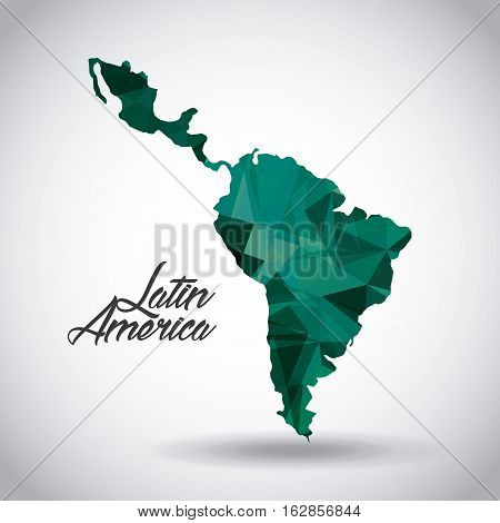 latin america map icon over white background. colorful design. vector illustration