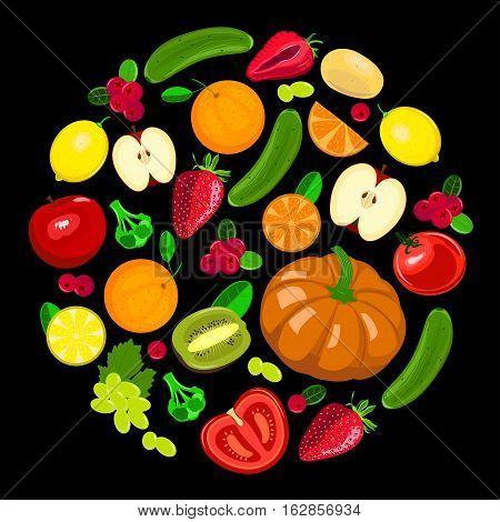 Collection illustration of harvest fruits and vegetables on black background. Seasonal vector illustration.