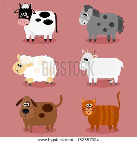 Funny farm animals and pets collection. Isolated sheep, cow, donkey goat, cat and dog. Vector illustration.