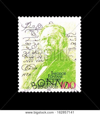 GERMANY - CIRCA 1993 : Cancelled postage stamp printed by Germany, that shows Theodor Fontane.
