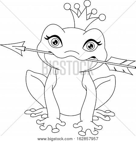 Cute princess frog caught arrow, coloring page