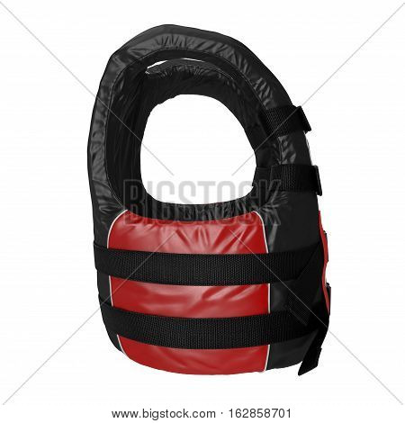 Red Life Vest on white background. Side view. 3D illustration
