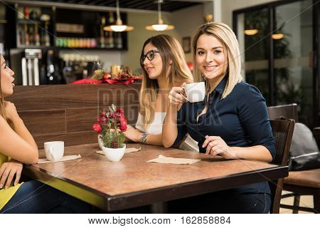 Cute Women Relaxing At A Cafe