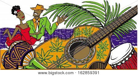 Dance party vector illustration with cartoon cuban couple dancing salsa on the beach maracas cuban guitar and drum. .