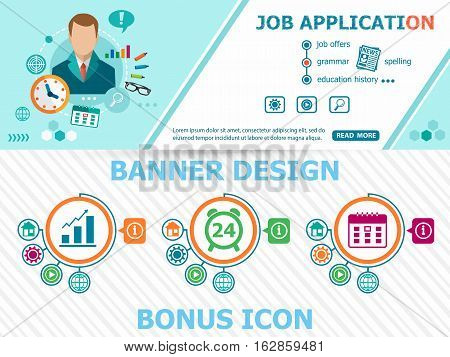 Job Application Design Concepts And Abstract Cover Header Background For Website Design.