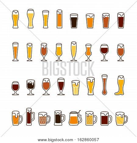 Beer in glasses and mugs with foam, various colors. Vector icon set