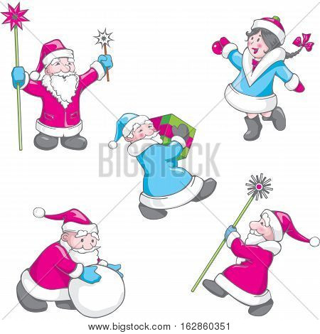 Christmas set of funny cartoon Santa Claus in various poses and Snow Maiden. Santa Claus with gift box. Vectorillustration.