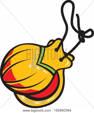 Traditional flamenco colorful castanets instrument in cartoon style isolated on white background. Vector illustration.