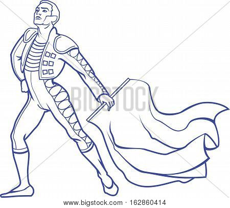 Vector illustration of young matador in bullfighting traditional clothing with red rag is ready to fight with bull.