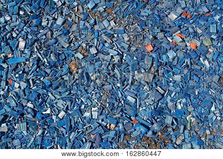 Blue wooden sawdust texture as nature background