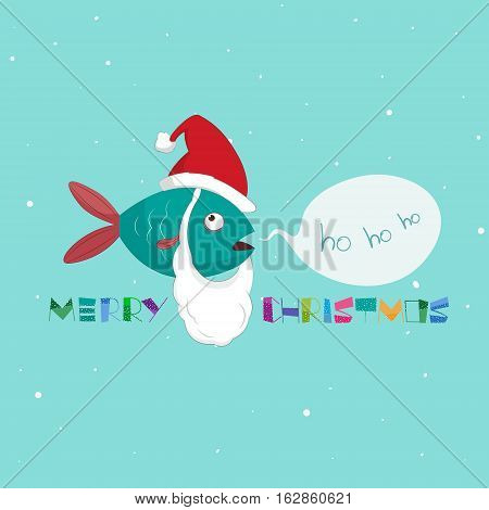 Marine fish on a Christmas theme. Beard and hat of Santa Claus. Text Merry Christmas. Vector illustration isolated on background. For holiday cards and invitations and prints.