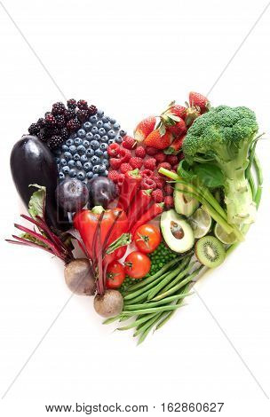 Heartshape fruits and vegetables with different color groups