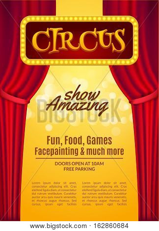 Circus show poster template with sign and light frame. Festive Circus invitation. Vector carnival show illustration.